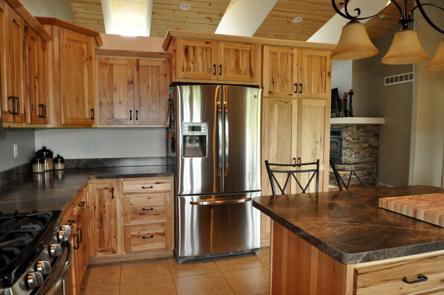 Country Style Rustic Hickory - Farmhouse - Kitchen ... on Rustic Farmhouse Kitchen  id=41712