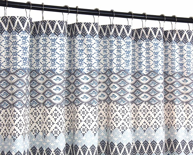 teal blue gray beige fabric shower curtain floral geometric patterned design