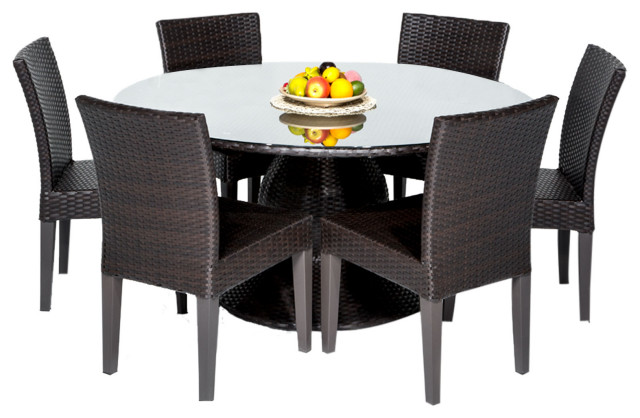 In Stock Napa 60 Outdoor Patio Dining Table With 6 Armless Chairs Tropical Outdoor Dining Sets By Design Furnishings Houzz