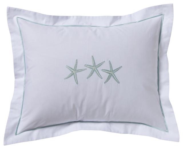 3 starfish aqua boudoir pillow cover aqua