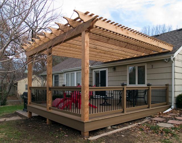 Boothe - Cedar Pergola over composite deck - Traditional ... on Deck Over Patio Ideas id=67942