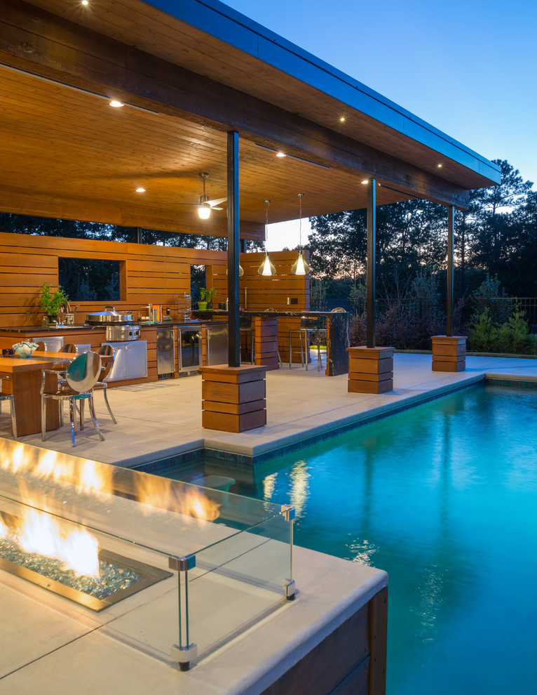 Luxury Pool with Modern Cabana - Modern - Pool - Atlanta ... on Cabana Designs Ideas id=90429