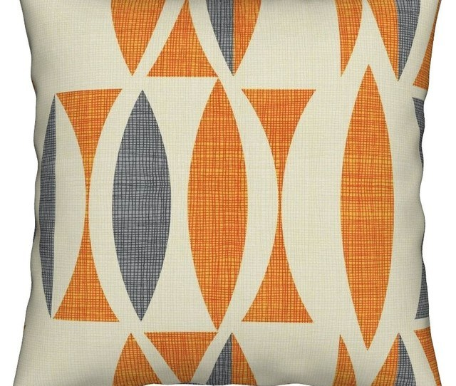 Linen Seventies Vintage Gray Abstract Orange Throw Pillow Cover Velvet