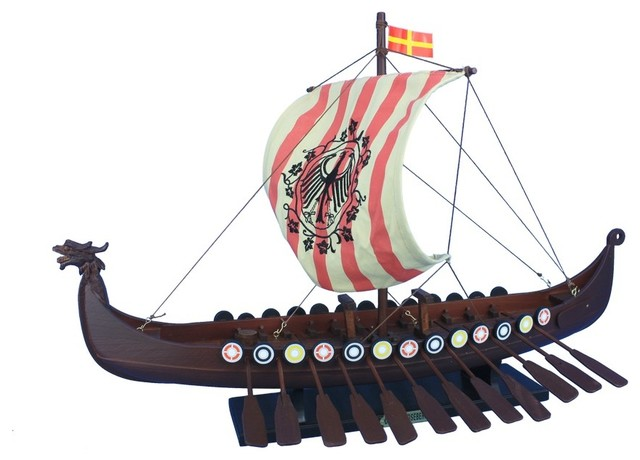 Mediterranean Style 20cm Wooden Sailing Ship Handmade Carved Model Boat Home Nautical Decoration Crafts
