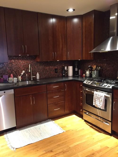Clueless! help kitchen countertop + backsplash to match ... on Backsplash For Dark Countertops  id=47332