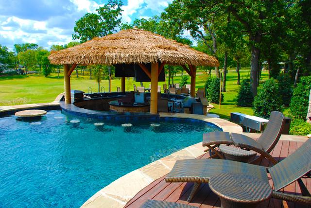 Outdoor Bar Area with Palapa - Tropical - Pool - Dallas ... on Palapa Bar Backyard id=33192