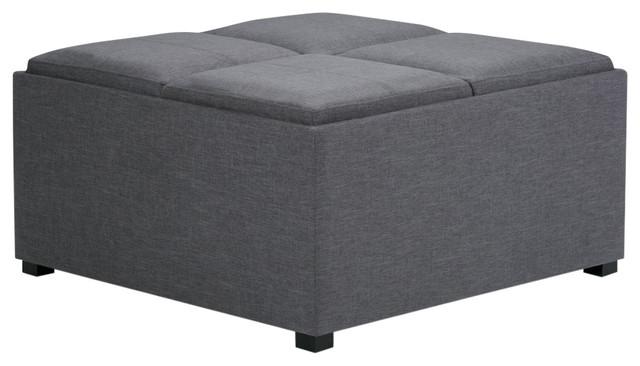 simpli home avalon coffee table storage ottoman in gray