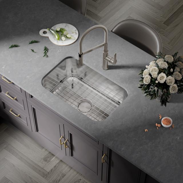 27 x18 x9 ksn 2718 16 undermount stainless steel bowl sink with strainer