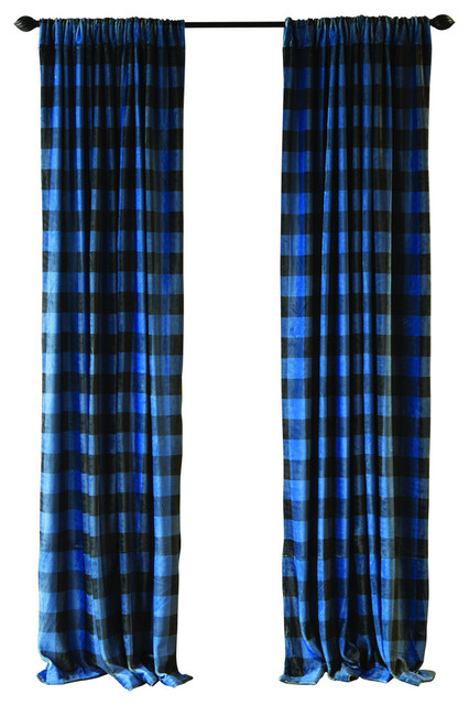 carstens wrangler blue lumberjack buffalo plaid curtain panels set of 2