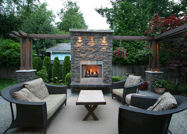 Outdoor Living Area With Fireplace - Contemporary - Patio ... on My Patio Design  id=51212
