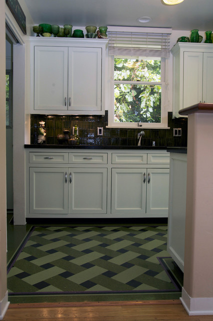 Basket Weave Tile Traditional Kitchen Los Angeles