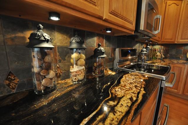 Granite Countertops and Tile Backsplash Ideas - Eclectic ... on Granite Countertops With Backsplash Ideas  id=63038