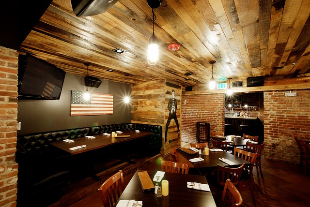 Barn Wood Paneled Ceiling Rustic Basement Denver
