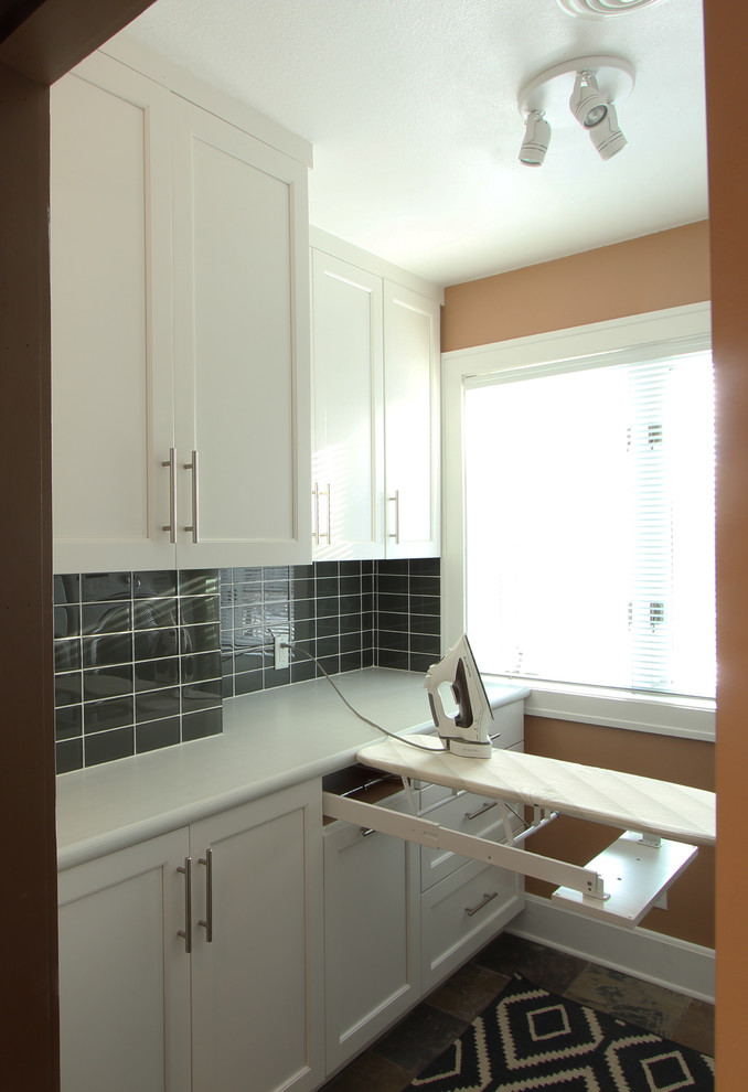 Small Laundry Room with White Cabinets and Maximum Storage ... on Small Laundry Room Cabinets  id=88146