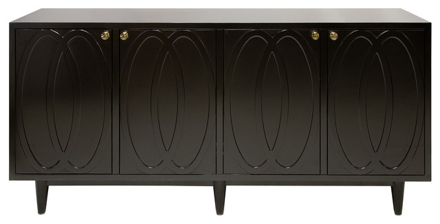 priscilla hollywood regency black lacquer media cabinet sideboard