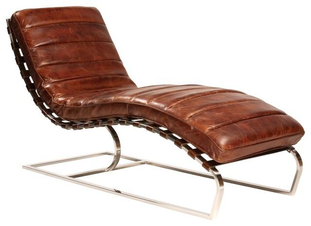 st james vintage cognac leather chaise lounger