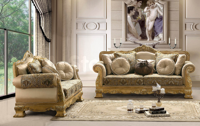 Traditional Upholstered 2 PC Sofa Set (Sofa And Loveseat