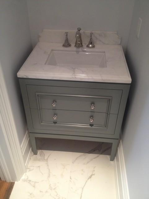 Grey Vanity Contemporary Powder Room Cambridgeshire
