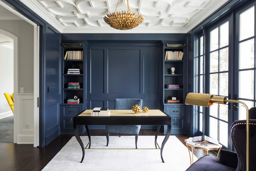 Gorgeous navy blue built-ins -- and that ceiling! This is the perfect paint color.