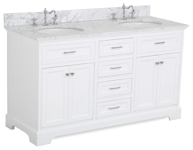 aria 60 bath vanity white top carrara double vanity