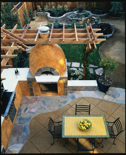 Outdoor Patio and Pizza Oven - Mediterranean - Patio ... on Outdoor Patio With Pizza Oven  id=48500