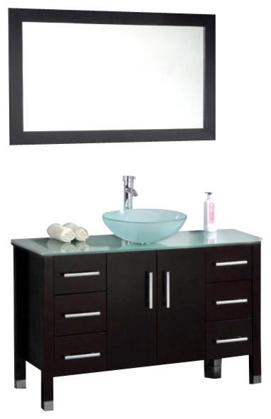 Cambridge 48 Solid Wood Glass Vessel Sink Vanity Set