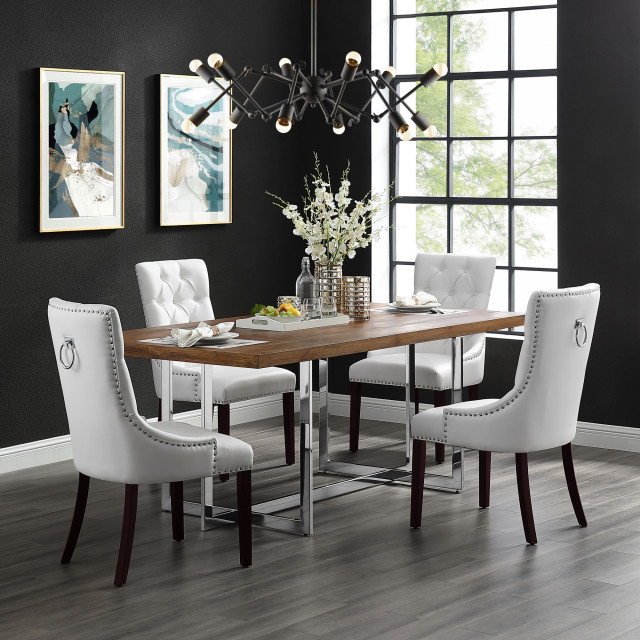 owen dining chair tufted nailhead trim set of 2 white leather