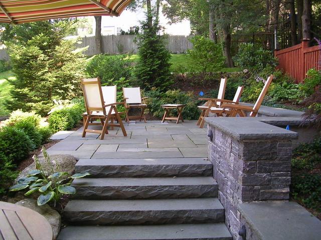 Backyard stone patio - Traditional - Patio - Boston - by ... on Small Backyard Stone Patio Ideas id=26095