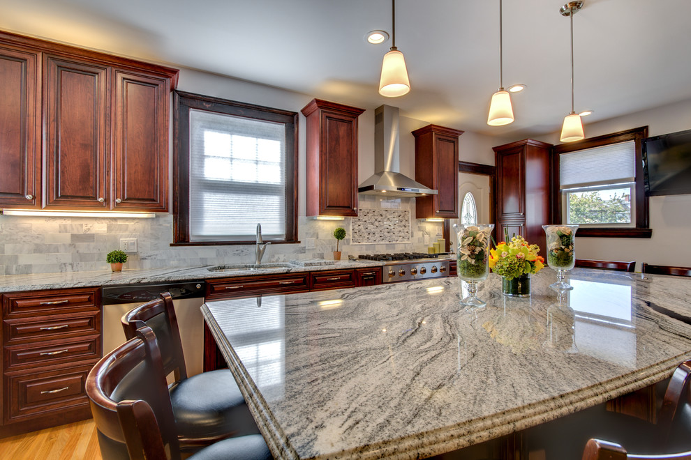 Viscont White granite countertops with Cherry cabinets ... on Maple Kitchen Cabinets With Black Granite Countertops  id=97994
