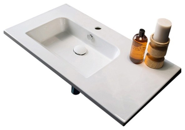 ceramic wall mounted with counter space one hole