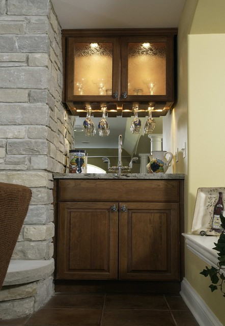 Basement Wet Bar - Traditional - Family Room - chicago ... on Small Wet Bar In Basement  id=12961