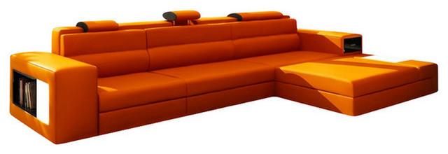 polaris mini contemporary leather sectional sofa with light orange