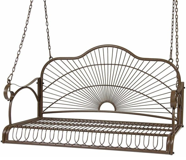 metal hanging patio porch swing bench chairs seat metal with chains and arm