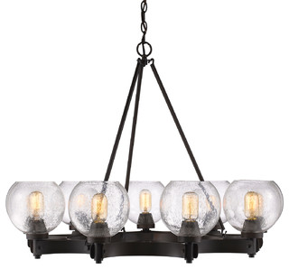 Golden Lighting Galveston 9 Light Chandelier With Seeded Glass Rubbed Bronze Chandeliers