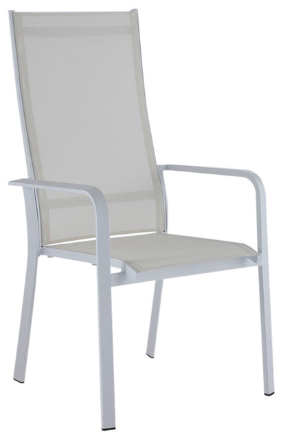 high back outdoor aluminum chairs with sling seat set of 2 matt white