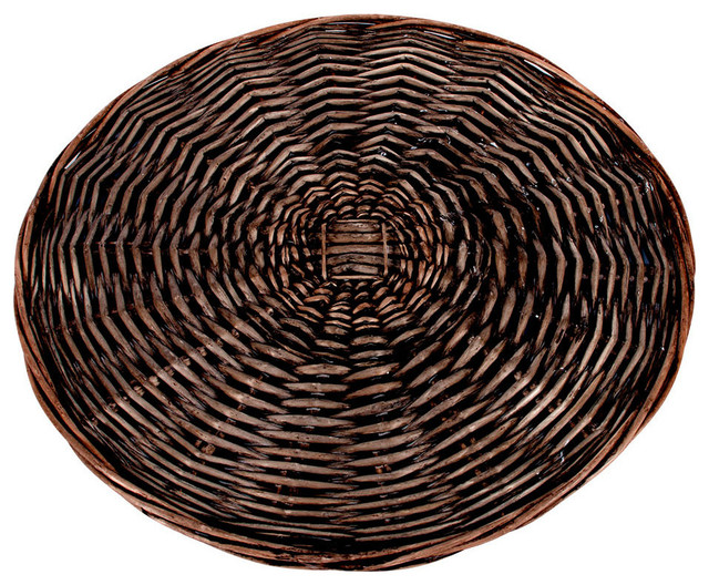 Round Willow Charger 14 Dark Brown Finish Set Of 4