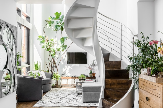 East Village Apartment Living Room Contemporary Staircase | Small Living Room With Stairs | Interior Design | Tiny | Cozy | Stairway | Bedroom