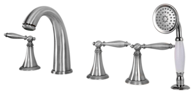 boeotia deck mounted bathtub faucet with handheld shower and mixer