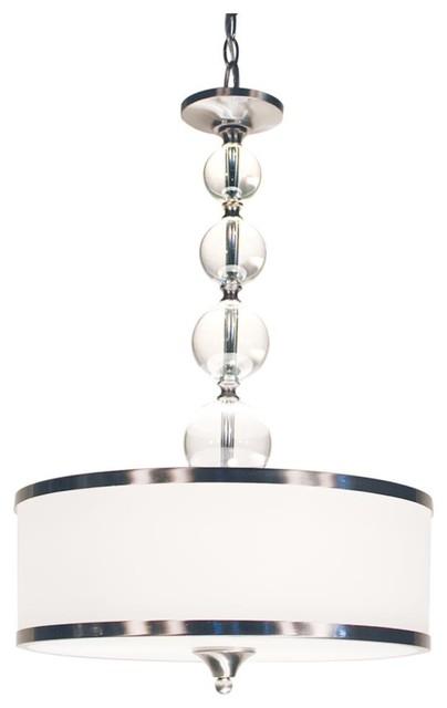 Three Light Brushed Nickel White Glass Drum Shade Pendant Contemporary Lighting