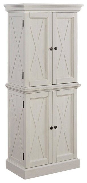 Home Styles Seaside Lodge Kitchen Pantry In Weather White Painted Finish Traditional Pantry Cabinets By Homesquare