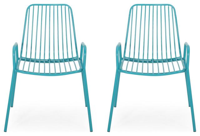 ashley outdoor modern iron club chair set of 2 matte teal