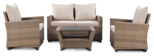 Santa Barbara Collection, 4 Piece Loveseat Patio Set, Light Brown,Ivory Cushions