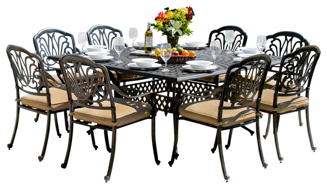 Rosedown Cast Aluminum 9-Piece Dining Set
