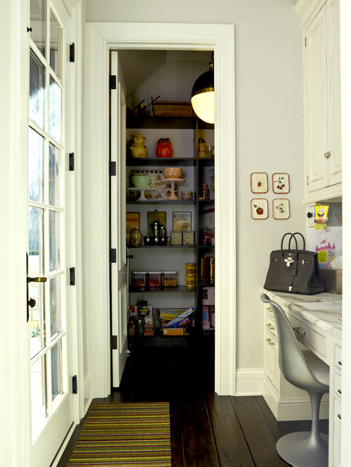 French Country - custom built pantry with desk next to kitchen
