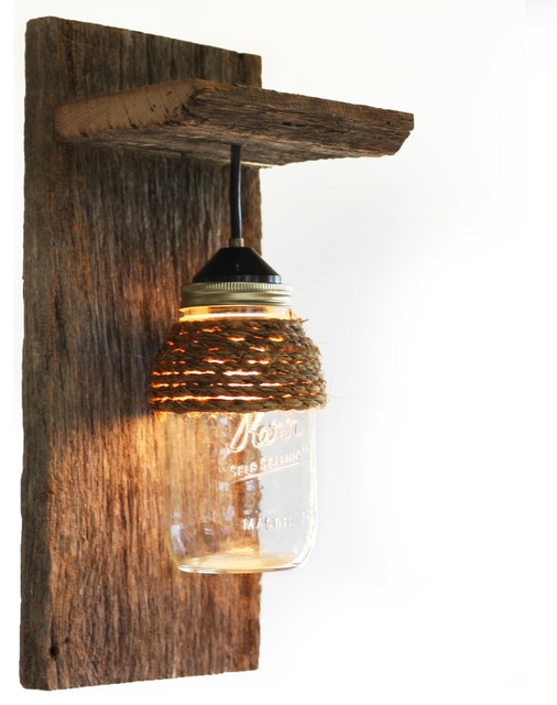 Barn Wood Mason Jar Light Fixture - Rustic - Wall Sconces ... on Rustic Wall Sconces id=66651