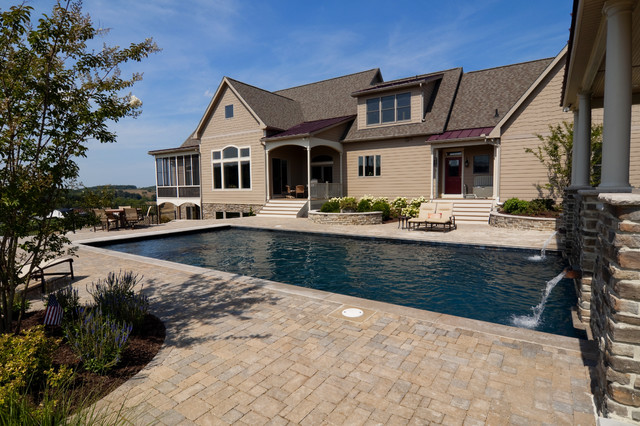 Rectangular pool and paver patio - Traditional - Pool - DC ... on Rectangle Patio Ideas  id=22194