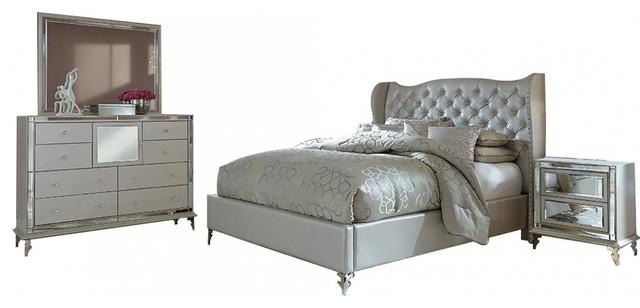 aico hollywood loft upholstered platform frost bedroom set queen