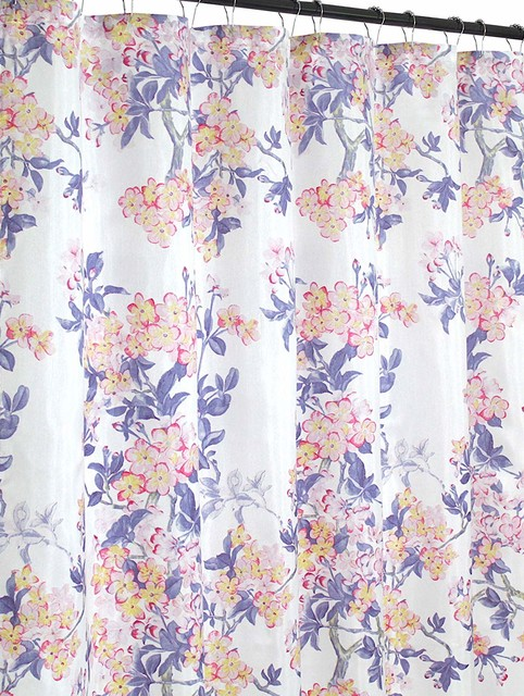 floral fabric shower curtain watercolor pink purple yellow on white background