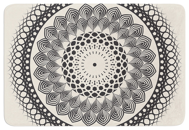 "famenxt ""black and white boho mandala"" geometric memory foam bath"