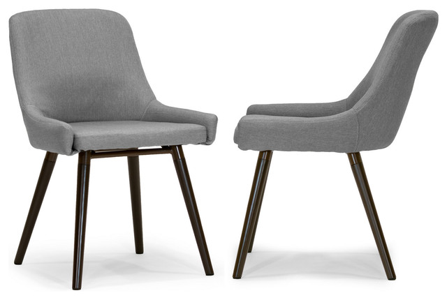 Ade Modern Gray Fabric Dining Chairs With Beech Legs, Set